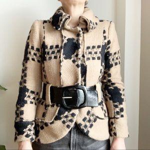Zara Cropped Jacket Size M Brown Black Belted